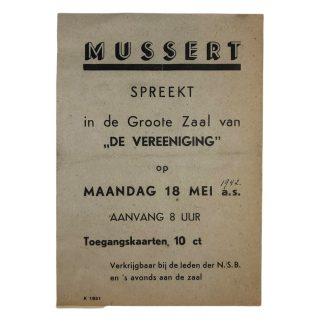 Original WWII Dutch NSB flyer Mussert speech in Nijmegen