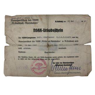 Original WWII Dutch NSKK volunteer 'Urlaubsschein' Arnhem 1941