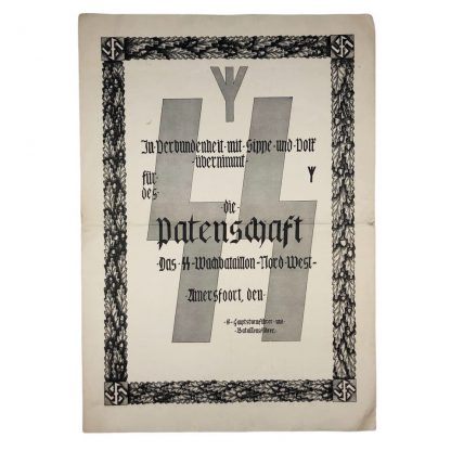 Original WWII Dutch SS-Wachbataillon-Nord-West Amersfoort citation