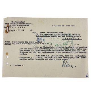 Original WWII German document Den Haag 1944