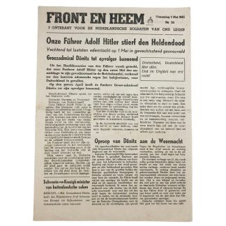 Original WWII Dutch Waffen-SS volunteer newspaper Front en Heem 2 May 1945 Death of Adolf Hitler!