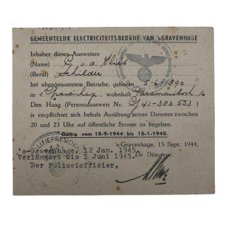 Original WWII German/Dutch Ausweis Electricity company Den Haag