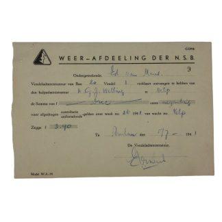 Original WWII Dutch NSB W.A. contribution uniform fund document Velp/Arnhem