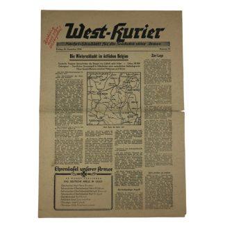 Original WWII German 'West-Kurier Nachrichtenblatt für die Soldaten einer Armee' Battle of the Bulge!