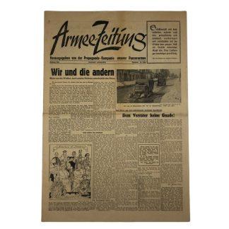 Original WWII German 'Armee-Zeitung – Herausgegeben von der Propaganda Kompanie unseres Panzerarmee'