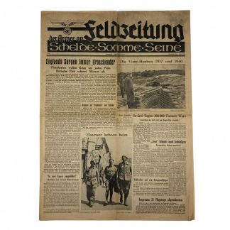 Original WWII German 'Feldzeitung – der Armee an Schelde, Somme & Seine' 1 August 1940