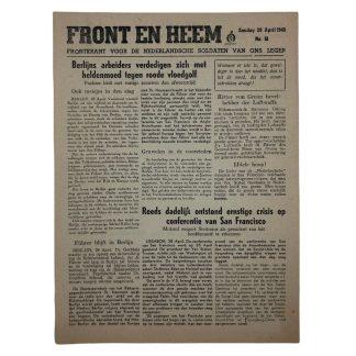 Original WWII Dutch Waffen-SS volunteer newspaper Front en Heem 29 April 1945