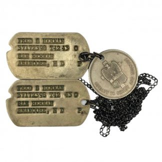 Original WWII US dog tags with christian token