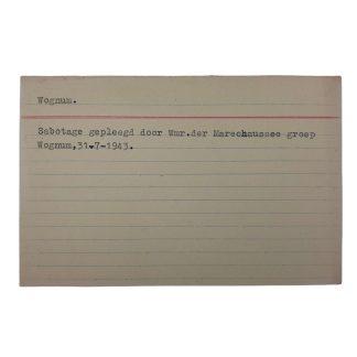 Original WWII Dutch NSB archive card Wognum