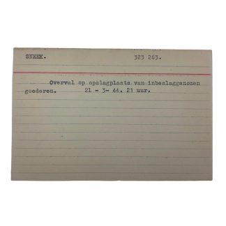 Original WWII Dutch NSB archive card Sneek