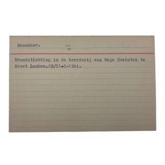 Original WWII Dutch NSB archive card Franeker
