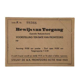 Original WWII Dutch W.A. Frontzorg entrance ticket for a show