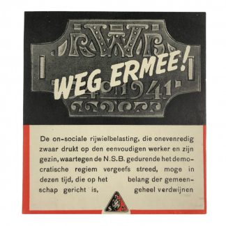 Original WWII Dutch NSB anti bicycle tax flyer