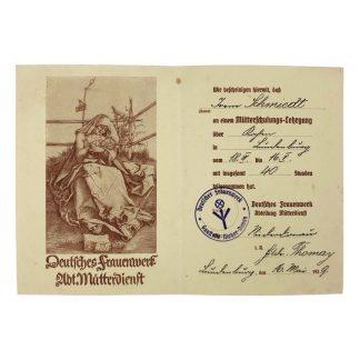 Original WWII German 'Deutsches-Frauenwerk Abt. Mutterdienst' certificate
