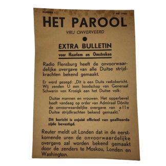 Original WWII Dutch 'Het Parool' leaflet May 1945 German surrender