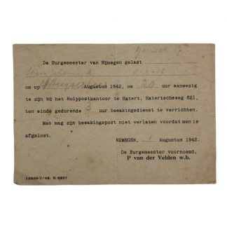 Original WWII Dutch guard duty document Nijmegen 1942