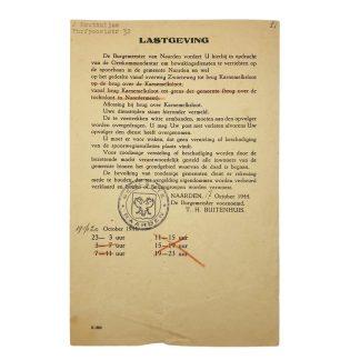 Original WWII Dutch document security service Naarden 1944
