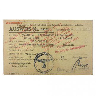 Original WWII German Ausweis 'Verteidigungsstab IJmuiden'