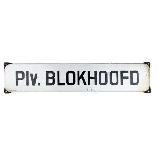 Original WWII Dutch 'Luchtbeschermingsdienst' Plaatsvervangend Blokhoofd enameled sign