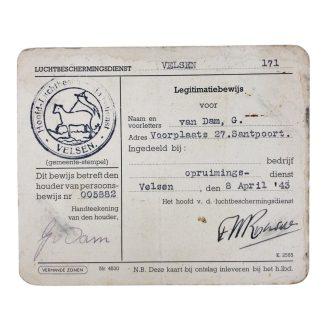 Original WWII Dutch 'Luchtbeschermingsdienst' ID card Velsen