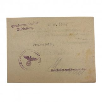Original WWII German Freistellung Middelburg (Netherlands)