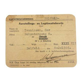 Original WWII Dutch 'Luchtbeschermingsdienst' ID card Belfeld