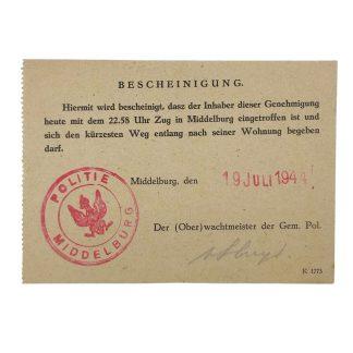 Original WWII German Bescheinigung Middelburg (Netherlands)