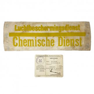 Original WWII Dutch 'Luchtbeschermingsdienst' armband and ID card Rijswijk