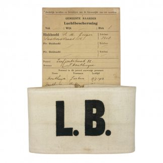 Original WWII Dutch 'Luchtbescherming' armband and document Naarden