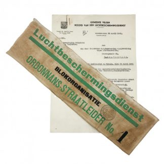 Original WWII Dutch 'Luchtbeschermingsdienst' armband and document Velsen & IJmuiden
