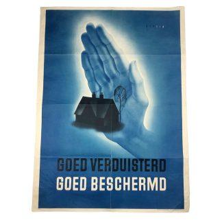 Original WWII Dutch 'Luchtbescherming' poster – Goed verduisterd, Goed beschermd