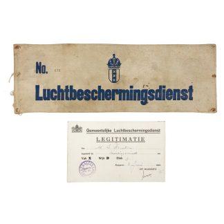 Original WWII Dutch 'Luchtbeschermingsdienst' armband and ID card Amsterdam