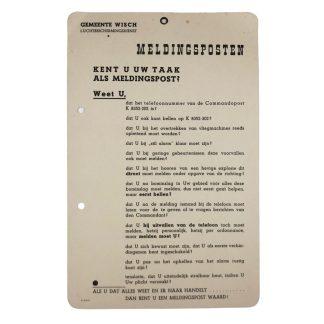 Original WWII Dutch 'Luchtbeschermingsdienst' Notification post card Wisch