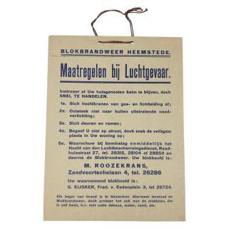 Original WWII Dutch 'Luchtbeschermingsdienst' carton sign Heemstede