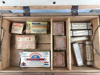 Original WWII Dutch 'Luchtbeschermingsdienst' wooden medical box with bandage