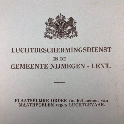 Original WWII Dutch 'Luchtbeschermingsdienst' booklet Nijmegen – Lent