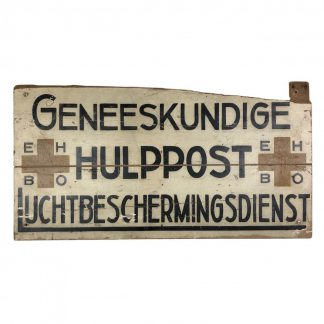 Original WWII Dutch 'Luchtbeschermingsdienst' wooden first aid sign Arnhem