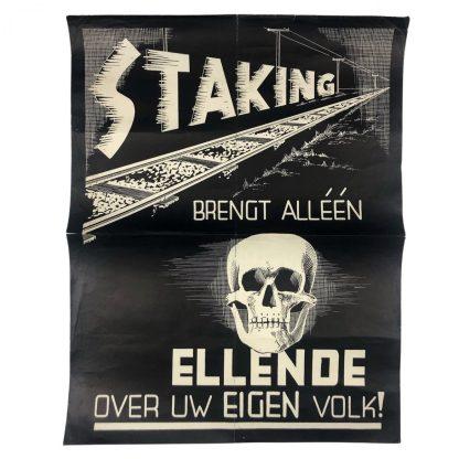 Original WWII Dutch railroad strike poster