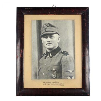 Original WWII German Waffen-SS Totenkopf framed portrait