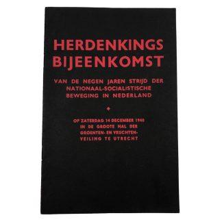 Original WWII Dutch NSB 'Herdenkings bijeenkomst' booklet Utrecht