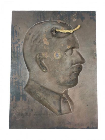 Original WWII German Adolf Hitler plaque N.S.B.O.
