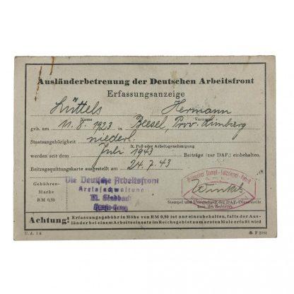 Original WWII German Auslander Betreuung DAF document Beesel (Limburg)