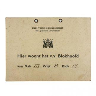 Original WWII Dutch 'Luchtbeschermingsdienst' carton sign Amsterdam