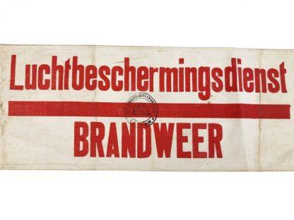 Original WWII Dutch 'Luchtbeschermingsdienst' armband fire department Leiden