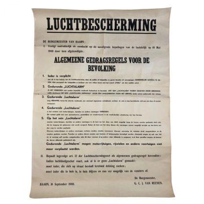 Original WWII Dutch 'Luchtbeschermingsdienst' poster Baarn