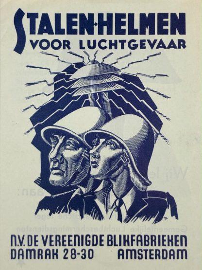 Original Pré 1940 Dutch Luchtbeschermingsdienst helmets Verblifa sales flyer