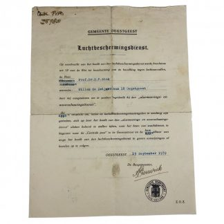 Original Pré 1940 Dutch 'Luchtbeschermingsdienst' Oegstgeest document
