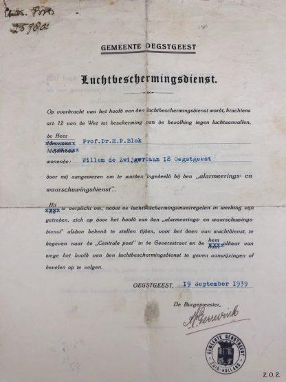 Original Pré 1940 Dutch 'Luchtbeschermingsdienst' Oegstgeest document