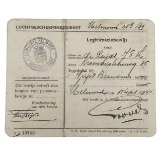 Original WWII Dutch 'Luchtbeschermingsdienst' ID card Helmond