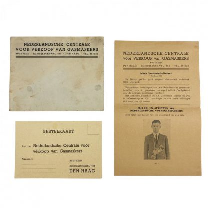 Original WWII Dutch 'Luchtbeschermingsdienst' Gasmask order card with flyer